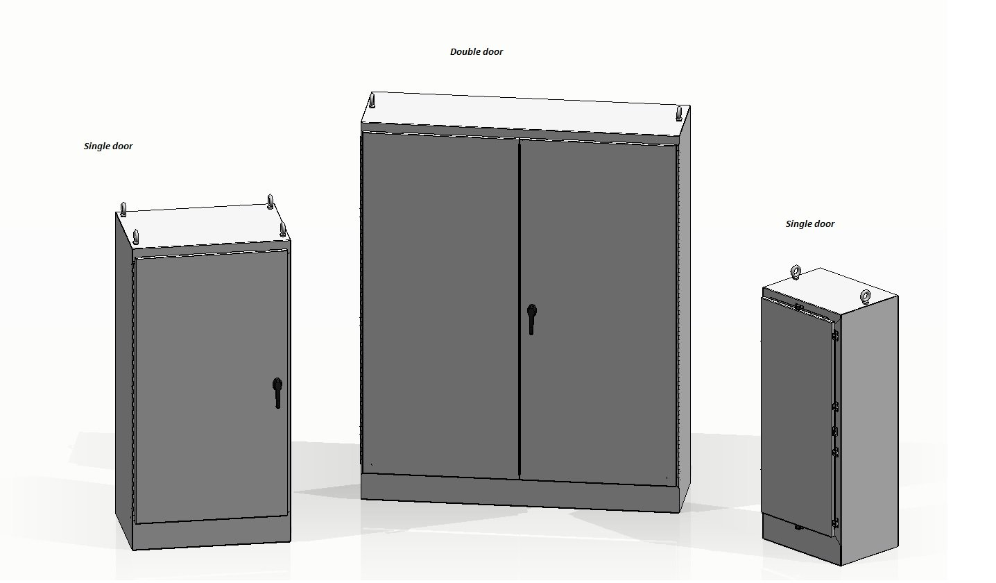 Double and single door floor mount electrical enclosure