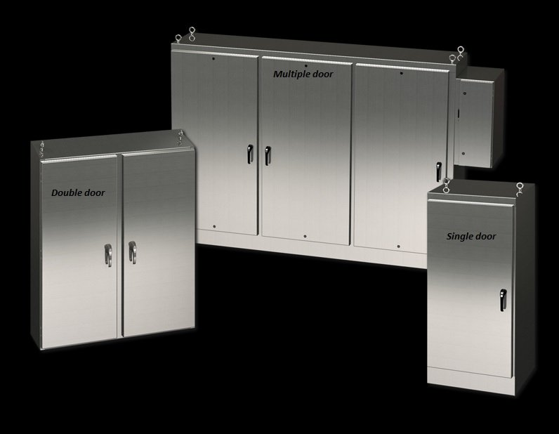 Single, double and multiple door floor mount electrical enclosure