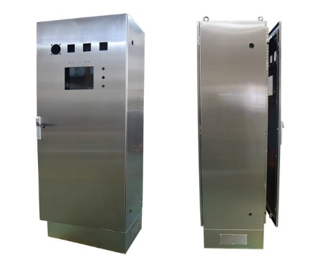 Lockable stainless steel electrical enclosure with window