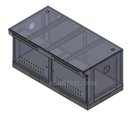 carbon steel double door desk enclosure