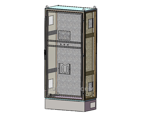 free standing electrical enclosure with hinges and window