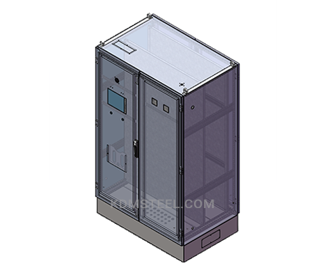 stainless steel free standing electrical enclosure with locks and latches