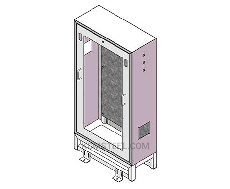 NEMA 4 floor mount stainless steel electrical enclosure with window