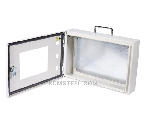 NEMA 4 steel industrial enclosure with window