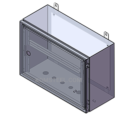 NEMA 4 wall mount stainless steel electrical enclosure with window