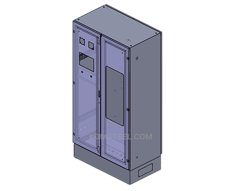 double door telecommunications enclosures with viewing window