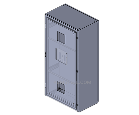 free standing stainless steel NEMA type 3 enclosure with viewing window