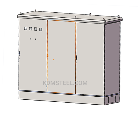 outdoor industrial enclosure with 3 door