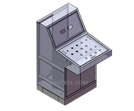 single door steel piano type washdown electrical enclosure