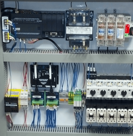 Electrical equipment in a control panel enclosure