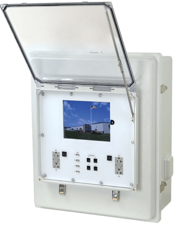 Enclosure with a window that opens up