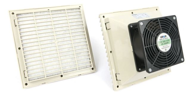 Electrical enclosure air filter with a fan