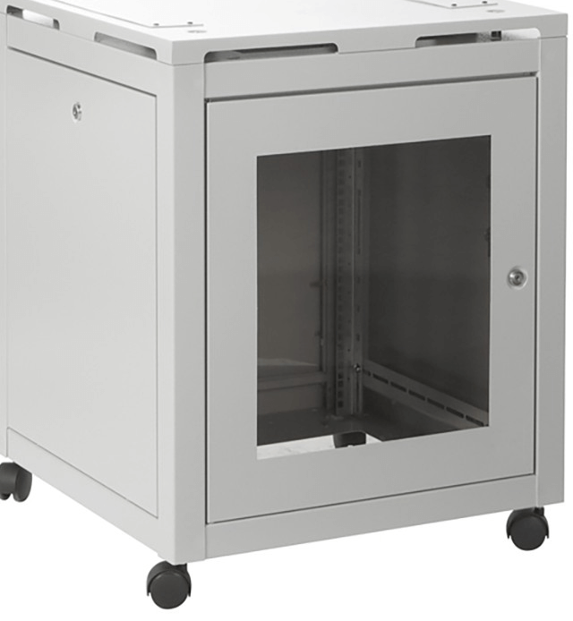 Enclosure with window and casters