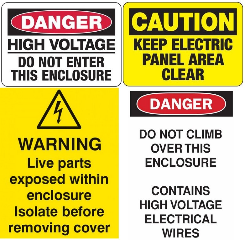 Electrical enclosure safety signs