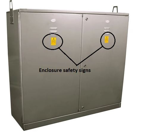 Enclosure safety sign