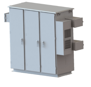 Outdoor telecom cabinet with multiple compartments