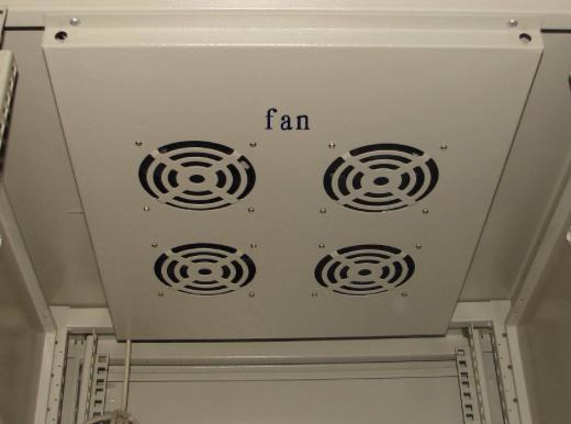 Radiating fan in an enclosure