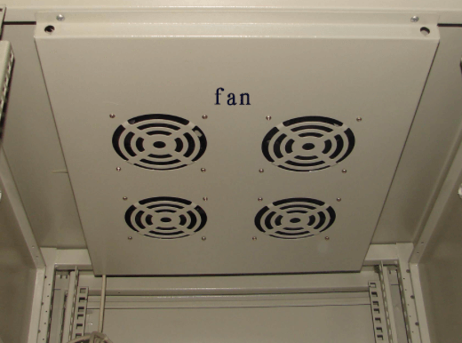 Radiating fan in an enclosure