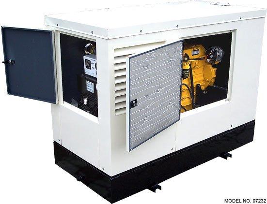 Diesel generator enclosure with doors