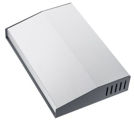 Slopped desktop enclosure