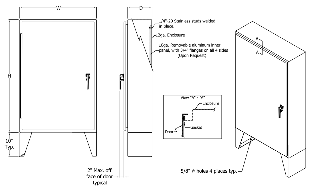 Technical drawing of electrical enclosure