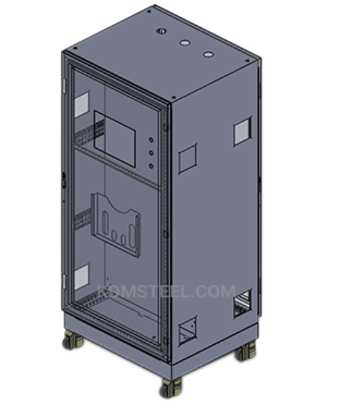 Free-standing enclosure with casters