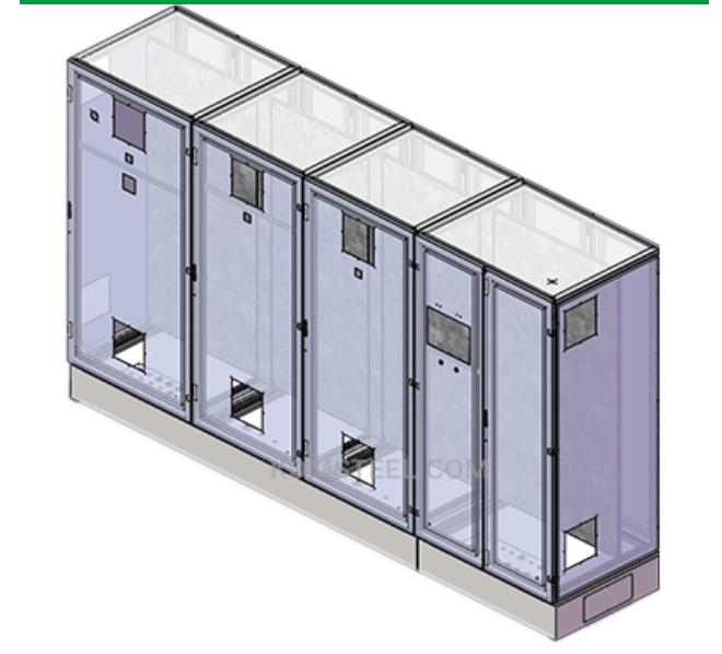 Multi-door free-standing enclosure