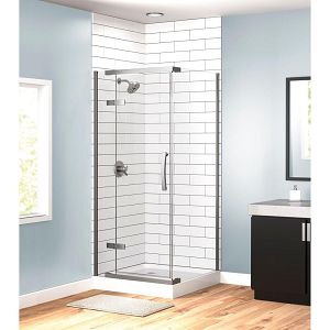 36x36x76 3-Piece Corner Hinged Frameless Shower Enclosure