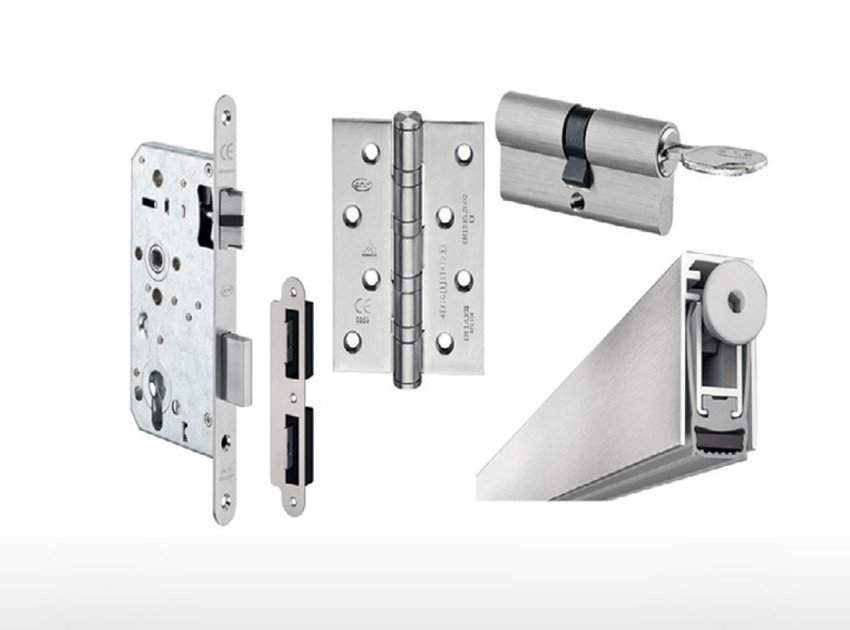 Fire-rated hardware for a door