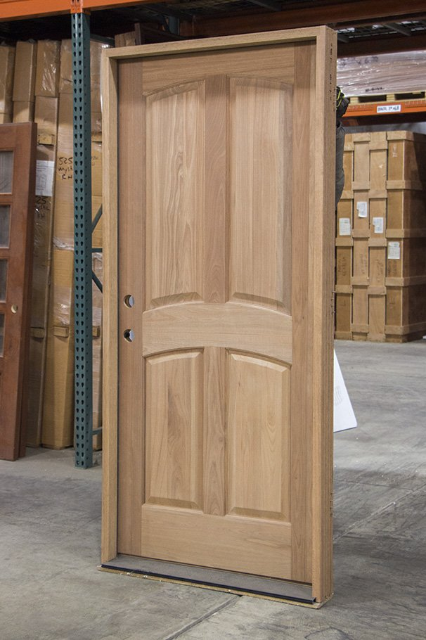 Fire-rated wooden door with panels