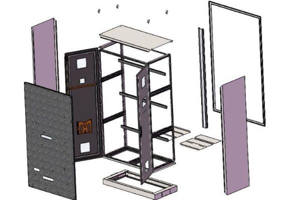 free standing modular enclosure 3D drawing