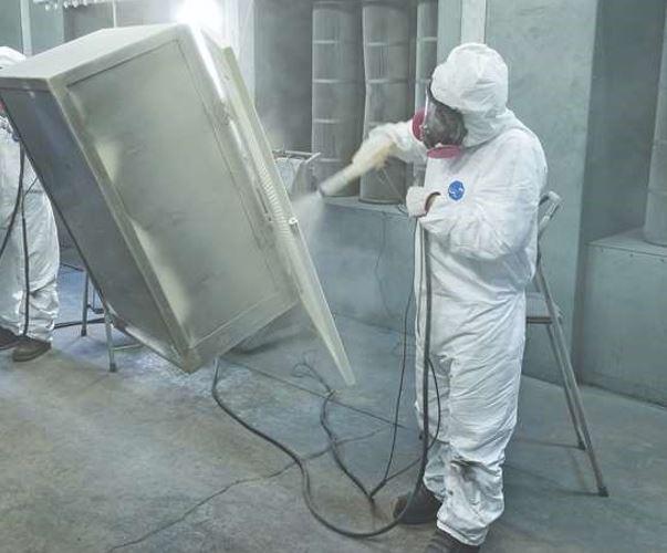 Powder coating metal enclosure